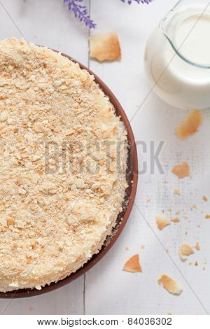 Mille-feuille Cake In Provence Style Background With Milk And Lavender. Top View
