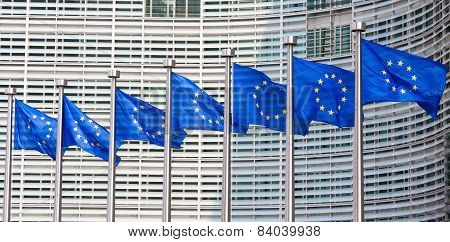 European Flags In Front Of The European Commission Building In Brussels