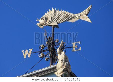 Fish Weather Vane At Old Billingsgate Market In London