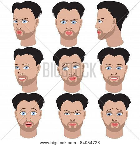 Set Of Variation Of Emotions Of The Same Man With Beard