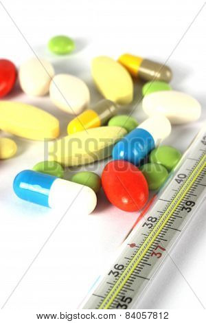 Multicolor Medical Pills And Termometr
