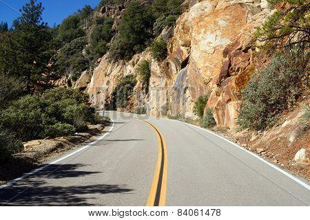 Two Lane Road Through Granite Rock King's Canyon California