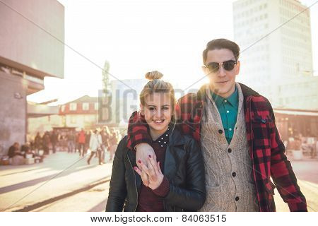 Stylish Couple On The Outdoors