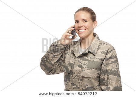 Happy Female Airman Talking On Mobile Phone