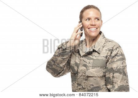 Female Airman On Mobile Phone