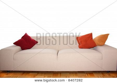 Big Sofa with Pillows isolated on White