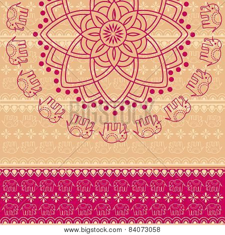 Lotus And Elephant Pink And Cream Indian Background