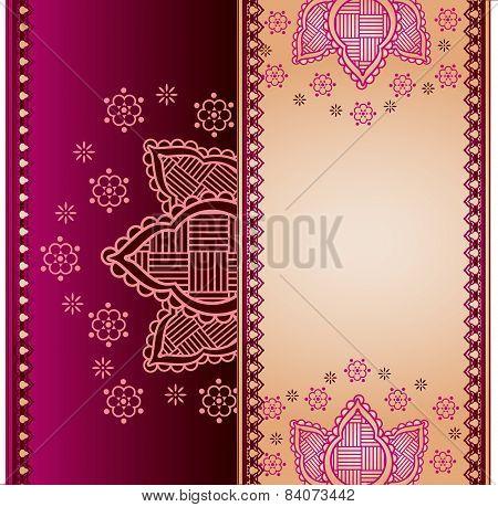 Purple and cream henna paisley banner