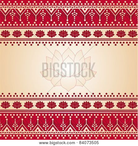 Red and cream Indian henna lotus banner