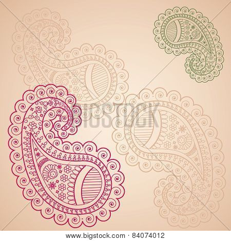 Funky Indian henna paisley background