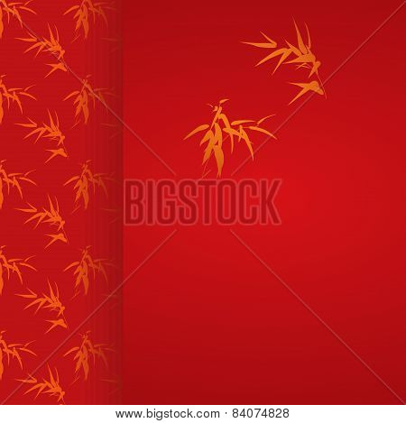 Red and gold Chinese bamboo card