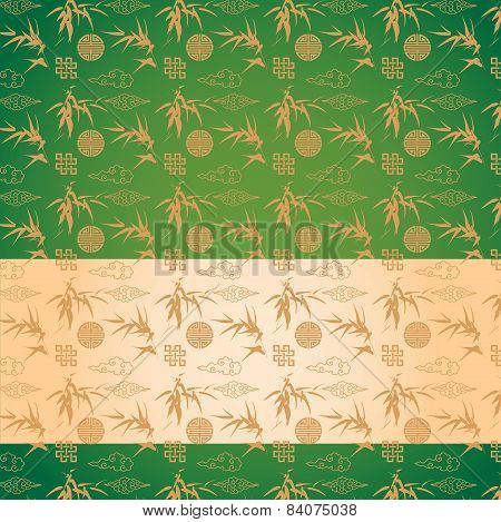 Green Chinese bamboo pattern banner