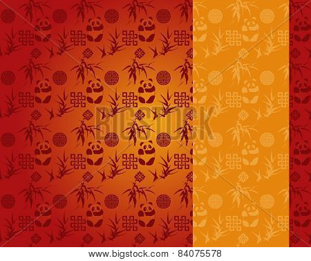 Chinese Red And Gold Panda And Bamboo Pattern Vertical Banner