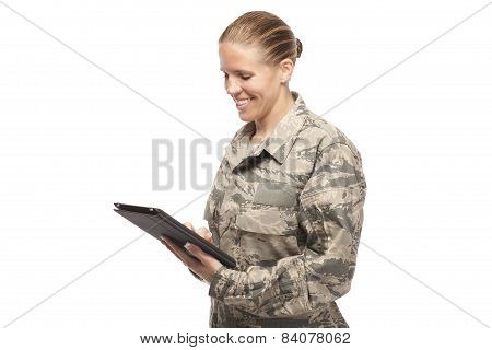 Female Airman With Digital Tablet