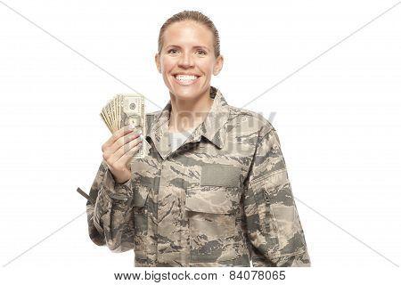 Happy Female Airman With Money