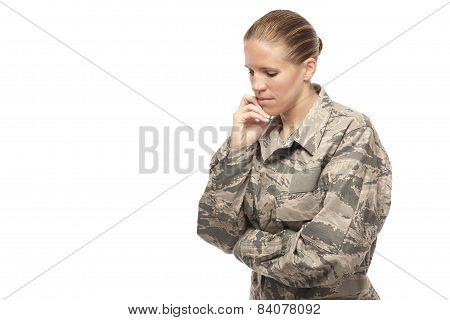 Female Airman Thinking