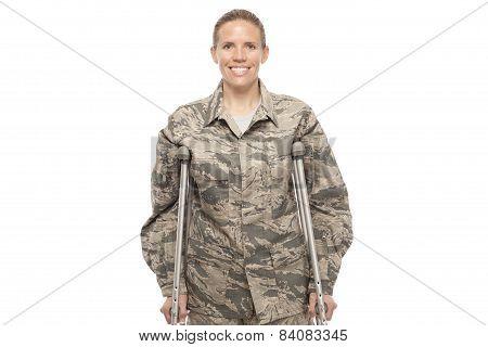 Female Airman On Crutches