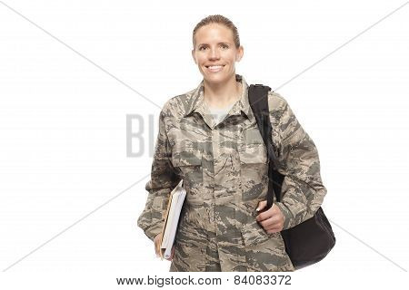 Female Airman With Shoulder Bag And Books