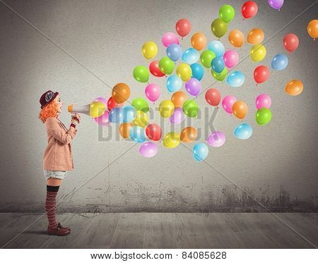 Clown screams balloons
