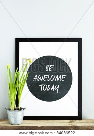 Black Frame Be Awesome Today With Potted Narcissus. Scandinavian Hipster Style Room Interior.