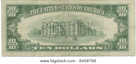 back 1950 $10 bill