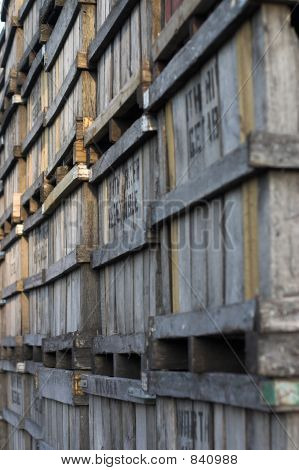 Angled Perspective Of Old Wooden Fruit Crates