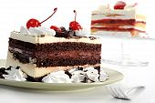 Extreme close-up image of delicious cake with cherries poster
