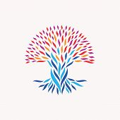 Abstract tree illustration. Concepts for unity community team work diversity ethnic and social issues. EPS10 vector file organized in layers for easy editing. poster