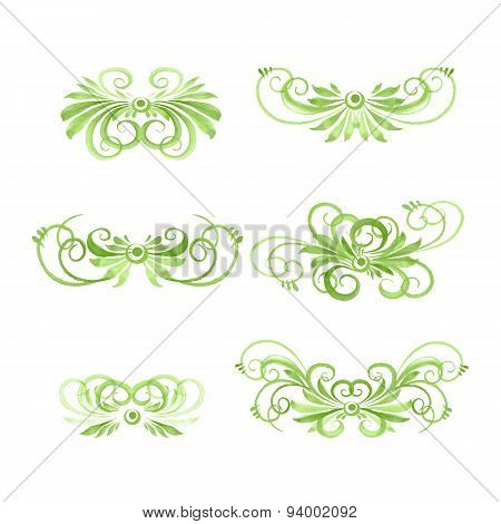 set of hand drawn watercolor floral disign elements