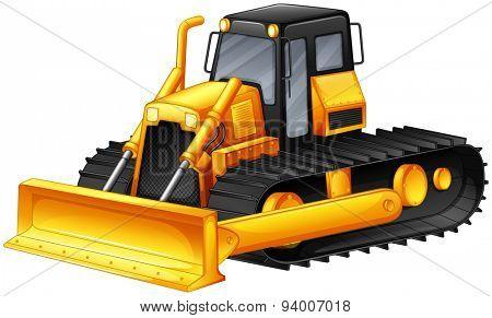 Closeup bulldozer with big scooper