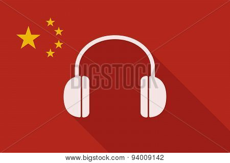 China Long Shadow Flag With A Hearphones