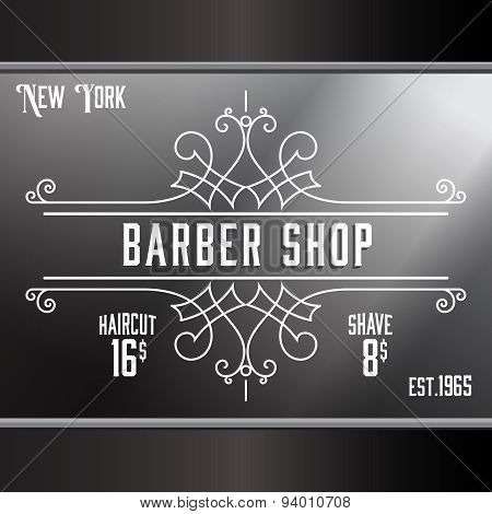 Vintage barber shop window advertising design template. Elegant line art and flourishes ornament for hair salon, barbershop. poster