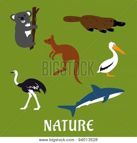 Australian animals and birds flat icons