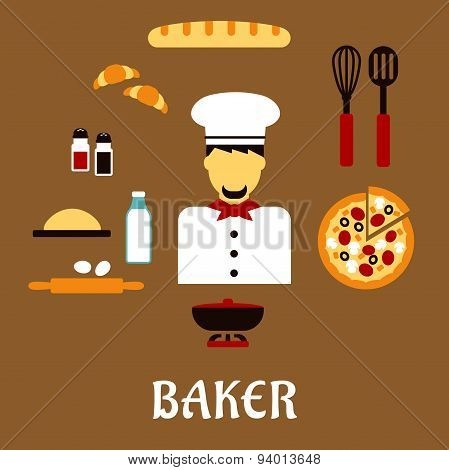 Baker profession flat concept with man in toque, pizza, baguette, croissants, milk, eggs dough chopping board cutlery, salt pepper and pot poster