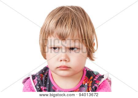 Blond Baby Girl Angry Frowns, Studio Portrait