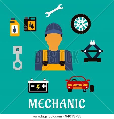Mechanic profession flat concept with tools