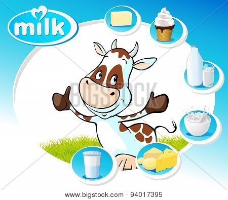 Blue Design With Dairy Products And Funny Cow - Vector Illustration