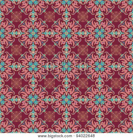 Hand Drawing Zentangle Mandala Color Seamless Parteern. Italian Majolica Style
