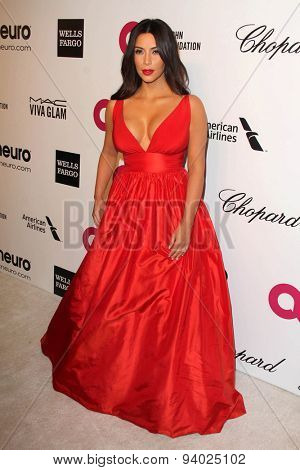 LOS ANGELES - MAR 3:  Kim Kardashian at the Elton John AIDS Foundation's Oscar Viewing Party at the West Hollywood Park on March 3, 2014 in West Hollywood, CA