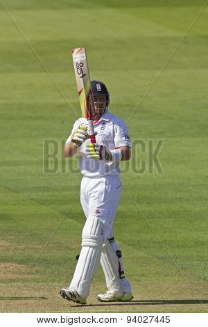 LONDON, ENGLAND - July 18 2013: Ian Bell celebrates a half century on day one of the Investec Ashes 2nd test match, at Lords Cricket Ground on July 18, 2013 in London, England.