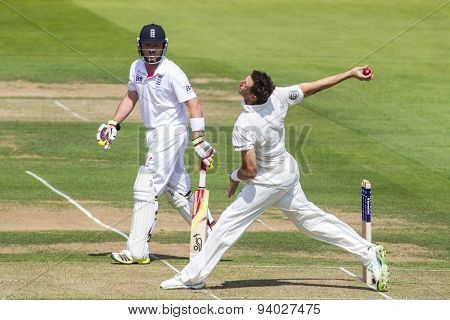 LONDON, ENGLAND - July 18 2013: Ian Bell and James Pattinson on day one of the Investec Ashes 2nd test match, at Lords Cricket Ground on July 18, 2013 in London, England.