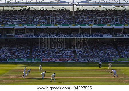 LONDON, ENGLAND - July 18 2013: A general view of play on day one of the Investec Ashes 2nd test match, at Lords Cricket Ground on July 18, 2013 in London, England.