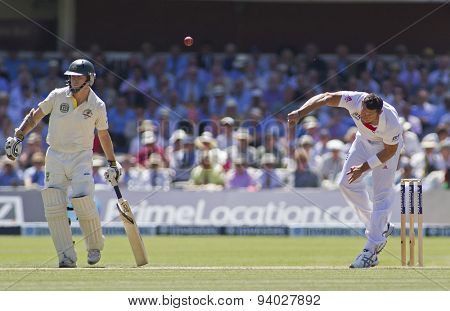 LONDON, ENGLAND - July 19 2013: Chris Rogers and Tim Bresnan during day two of the Investec Ashes 2nd test match, at Lords Cricket Ground on July 19, 2013 in London, England.