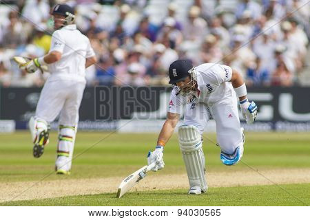 NOTTINGHAM, ENGLAND - July 12, 2013: Matt Prior runs a single during day three of the first Investec Ashes Test match at Trent Bridge Cricket Ground on July 12, 2013 in Nottingham, England.