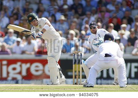 MANCHESTER, ENGLAND - August 02 2013: Brad Haddin Matt Prior and Ian Bell during day two of  the Investec Ashes 3rd test match at Old Trafford Cricket Ground, on August 02, 2013 in London, England.