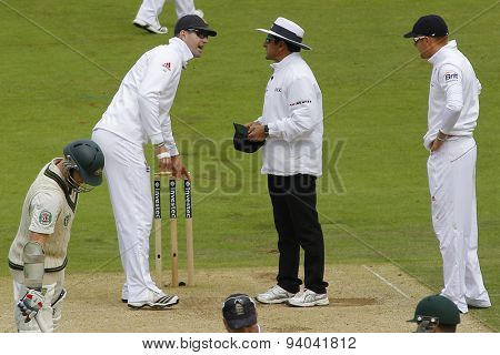CHESTER LE STREET, ENGLAND - August 10 2013: Kevin Pietersen in discussion with umpire Aleem Dar during day two of the Investec Ashes 4th test match at The Emirates Riverside Stadium