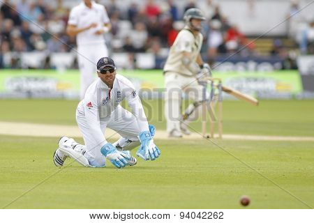 CHESTER LE STREET, ENGLAND - August 12 2013: Matt Prior looks on as the ball passes him during day four of the Investec Ashes 4th test match at The Emirates Riverside Stadium, on August 12, 2013