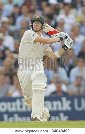 LONDON, ENGLAND - August 22 2013: Steven Smith plays a shot during day two of the 5th Investec Ashes cricket match between England and Australia played at The Kia Oval Cricket Ground