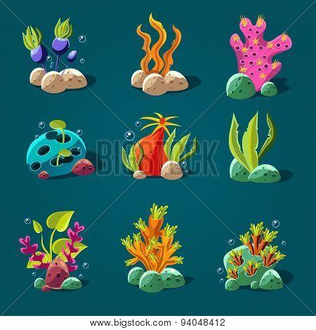 Set of Cartoon Algae, Elements for Aquarium Decoration.