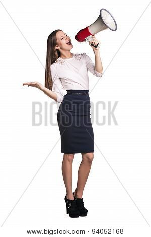 Business woman with megaphone